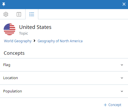 Topic context panel, Concepts tab. The Topic is called United States. Three Concepts are listed: Flag, Location, and Population. On the right side of each Concept name is a down arrow (to view more details). Below the list is a +Concept button.