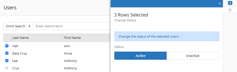 Users Grid view with Batch Actions panel open. The panel indicates 3 rows are selected and shows a status field with the option to set all the items to Active or Inactive.