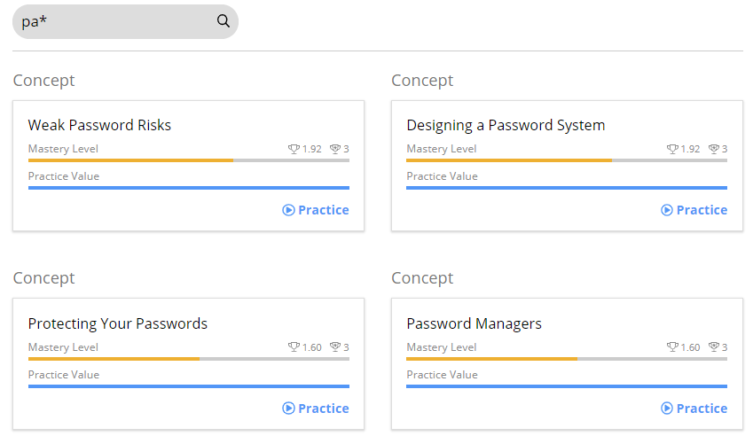 A search bar with the following text pa*. Below are the search results. In this case four Concepts are shown as results. Weak Password Risks, Designing a Password System, Protecting Your Passwords, and Password Managers.