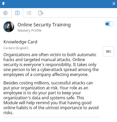 "Mastery Profile context panel, Knowledge Card tab. The Mastery Profile is called ""Online Security Training"". The Visibility icon appears at the top of the tab and is enabled. The Knowledge Card content appears below and contains text."