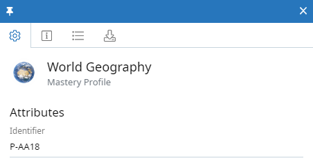 Mastery Profile context panel for World Geography Mastery Profile. The identifier field is shown with a value of P-AA18.