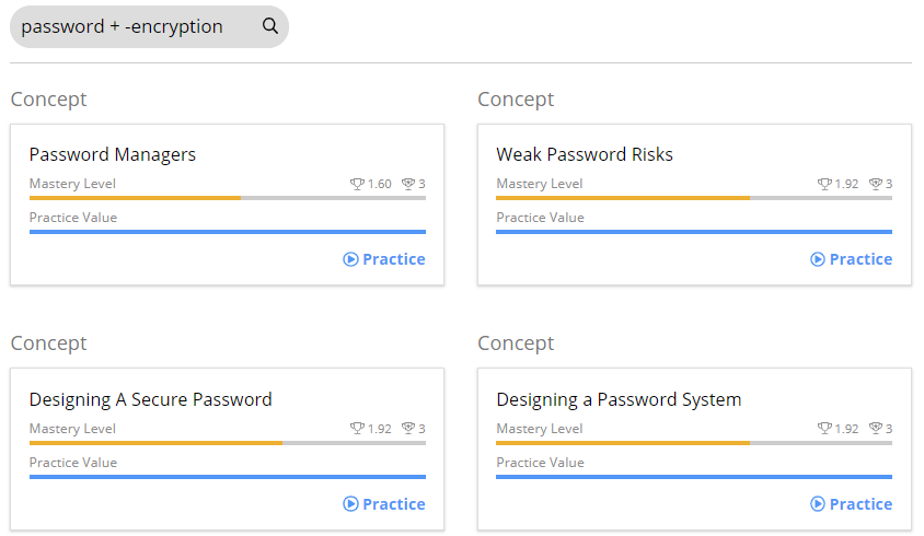 A search bar with the following text Password space plus sign space minus sign Encryption. Below are the search results. In this case four Concepts are shown as results. Password Managers, Weak Password Risks, Designing a Secure Password, and Designing a Password System.