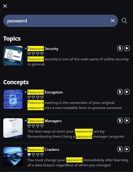 "Page of search results after a learner searches the learner app for the word ""password"". The results are sorted by Topics and Concepts. The word ""password"" is highlighted in the results."