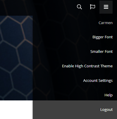 Learner app user settings. The settings icon appears in the top-right corner. When clicked, a dropdown opens containing the learner's display name and the following settings: Bigger font, smaller font, high contrast theme, account settings, help, and logout.