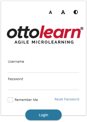 """Close up of the learner app login area. At the top, there are buttons to change the font size and enable the high contrast theme. Below this, the organization logo appears, followed by a Username field and Password Field. Below this are a Remember Me checkbox, a """"Reset Password"""" button, and a """"Login"""" button."""