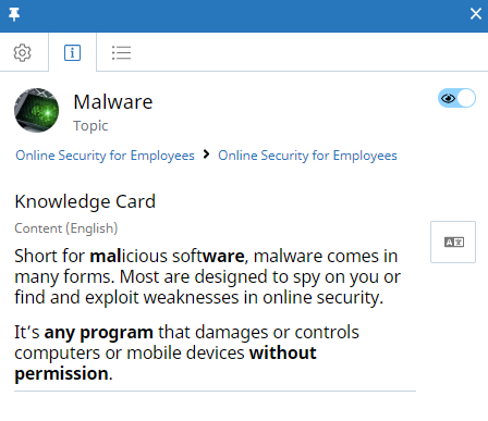 Topic context panel, Knowledge Card tab. The Concept is called Malware. The Visibility icon appears at the top of the tab and is enabled. The Knowledge Card content appears below and contains two paragraphs of text.