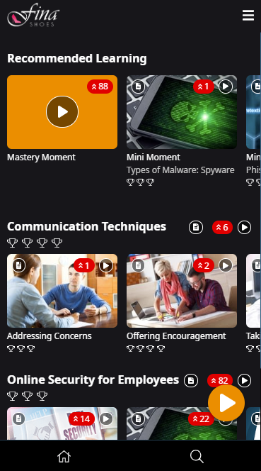 Image showing the learner interface. The Mastery Moment icon appears in the bottom-right corner of the screen.
