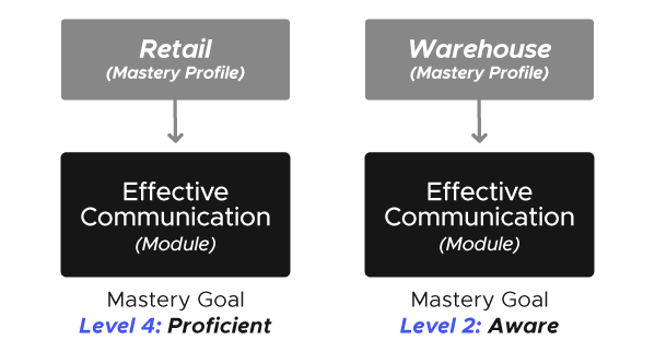 Two diagrams. The one on the left shows the Retail Mastery Profile. Below it is the Effective Communication Module with a mastery goal of Level 4: Proficient. The diagram on the right shows the Warehouse Mastery Profile. Below it is the Effective Communication Module with a mastery goal of Level 2: Aware.