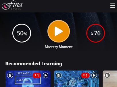 Header near the top of the page with two summary metrics and the Mastery Moment start button.
