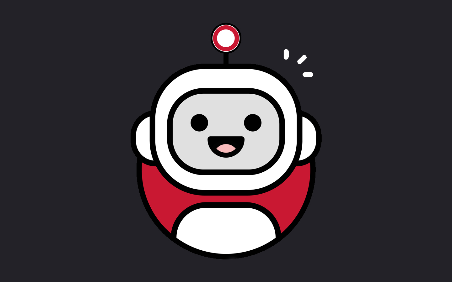 Default image of a smiling robot character on a black background.