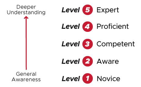 Diagram showing the 5 mastery levels in descending order, from deepest understanding to general awareness. Level 5: Expert has the deepest understanding, followed by Level 4: Proficient, Level 3: Competent, Level 2: Aware, and Level 1: Novice (general awareness).