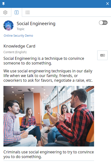 Topic context panel, Knowledge Card tab. The Topic is called Social Engineering. The Visibility icon appears at the top of the tab and is disabled. The Knowledge Card content appears below and contains text and an image.