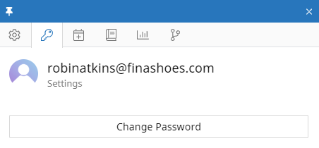 The Settings tab of the user context panel for a user named Robin Atkins. In the tab there is a Change Password button.