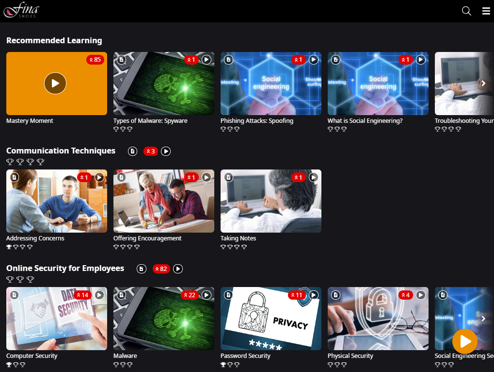 Learner app landing page. The Recommended Learning row is shown, followed by 2 rows for the Modules Communication Techniques and Online Security for Employees.