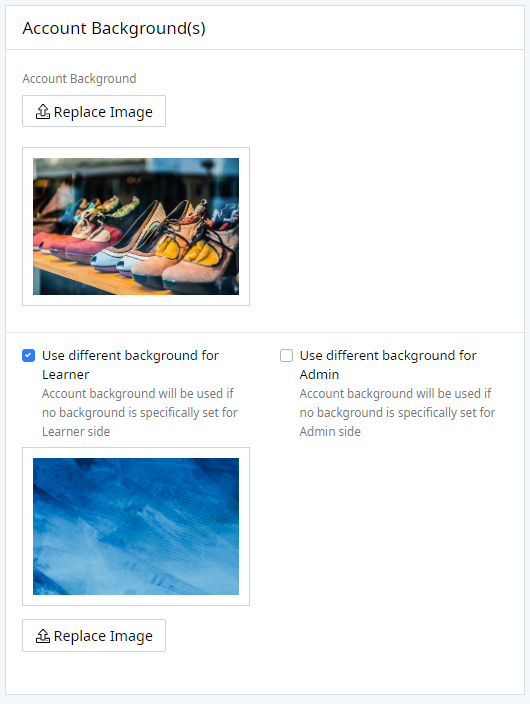 Account Backgrounds section that includes a Replace Image button to change the account background. Also included are two toggles to use different backgrounds for the learner and admin sides.