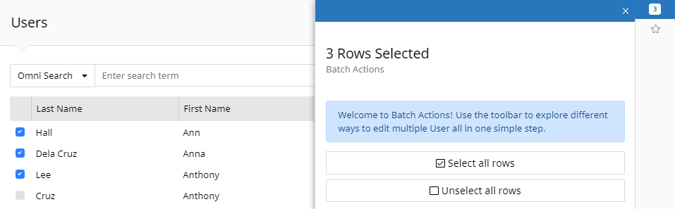 Users Grid view with Batch Actions context panel open. The panel indicates 3 rows are selected and provides the options to select all rows or unselect all rows. Select all rows is checked off.