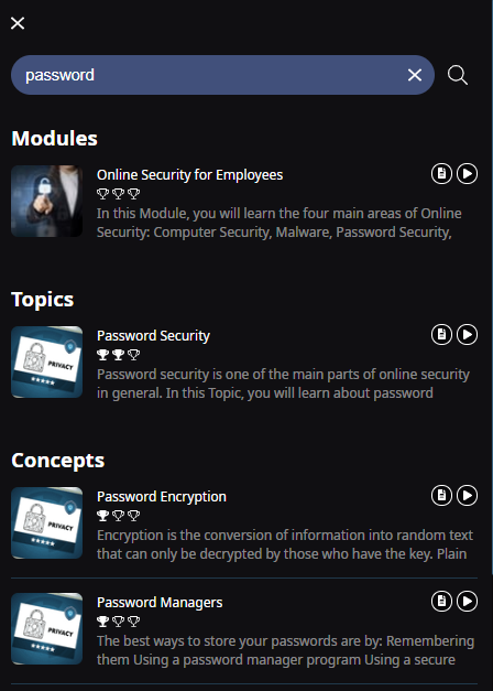 Page of search results after a learner searches the learner app for the word Password. The results are sorted by Modules, Topics, and Concepts.