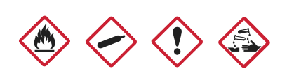 Four hazard symbols, described from left to right. An illustration of a flame with a horizontal line beneath it. An illustration of a cylinder or container. An illustration of an exclamation mark. An illustration showing two test tubes, one pouring a substance onto a surface and one pouring a substance onto a hand.