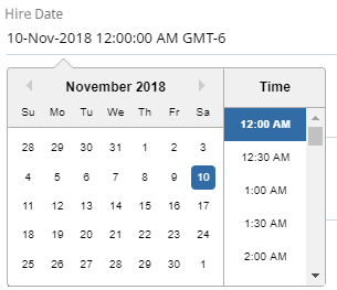 Close up of Hire Date field. The date in the field is selected, which opens a calendar view where the date and time can be selected.