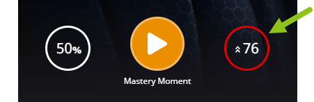 Header near the top of the page with two summary metrics and the Mastery Moment start button. An arrow is pointing to the circle on the right which shows the learner's total number of mastery gaps (in this case, 76).