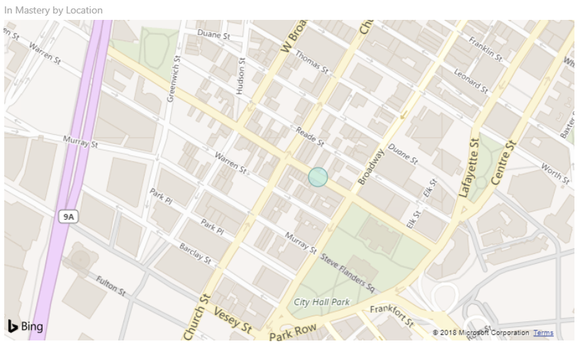 Close up of map in Power BI showing a specific location. Zoomed in to show a specific street in a city.