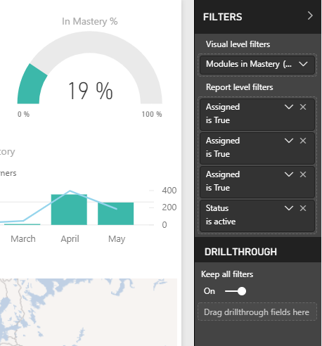 Close up of filters screen in Power BI, showing options for visual level filters, report level filters, and drillthrough.