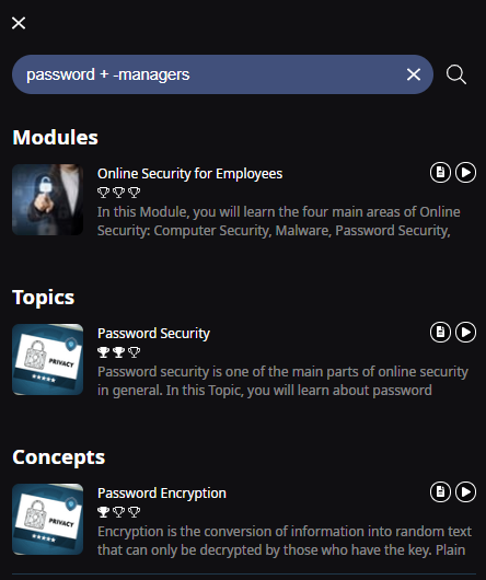 A search bar with the following text Password space plus sign space minus sign Encryption. One Module (Online Security for Employees), one Topic (Password Security), and one Concept (Password Encryption) are shown as results.