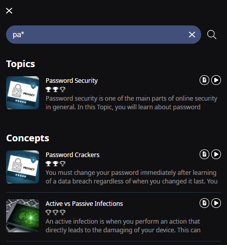 A search bar with the following text pa*. One Topic (Password Security) and two Concepts (Password Crackers and Active vs. Passive Infections) are shown as results.