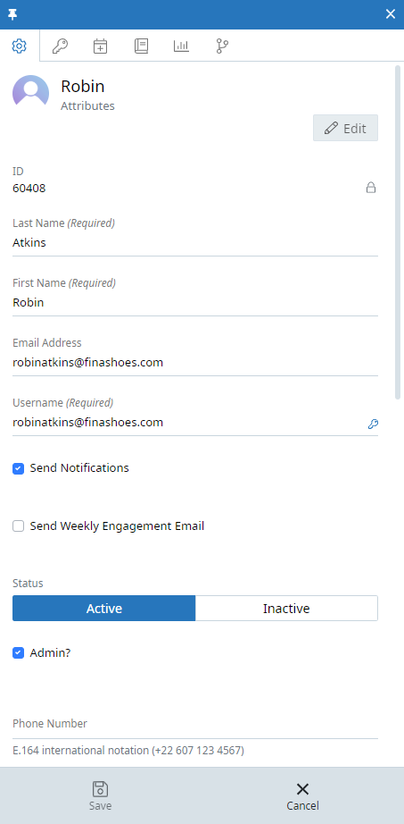 The user context panel for a user named Robin Atkins. There are several tabs along the top of the context panel. The first tab, Attributes, is displayed. Within this tab are the following text fields: ID, last name, first name, email address, and username. Below this is a send notifications checkbox, a send weekly engagement email checkbox, a status toggle (active or inactive), and an admin checkbox. Below this is a text field for phone number. At the bottom of the context panel there is a Save button and a Cancel button.