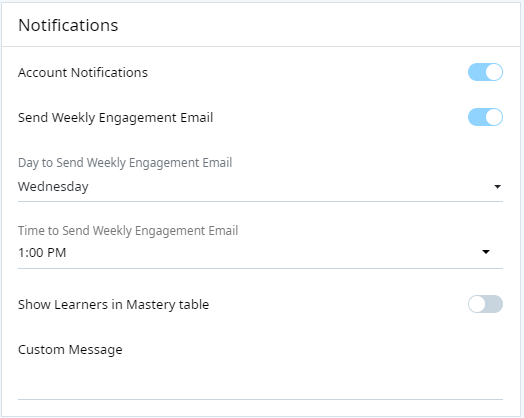 "Main Settings screen, Notifications section. The first setting is a toggle called ""Account Notifications"". Below this is a toggle called ""Send Weekly Engagement Email"". This is followed by two dropdown options, ""Day to Send Weekly Engagement Email"" and ""Time to Send Weekly Engagement Email"". The last setting is another toggle called ""Show Learners in Mastery Table in Email"". Below this is a field to enter a custom message."