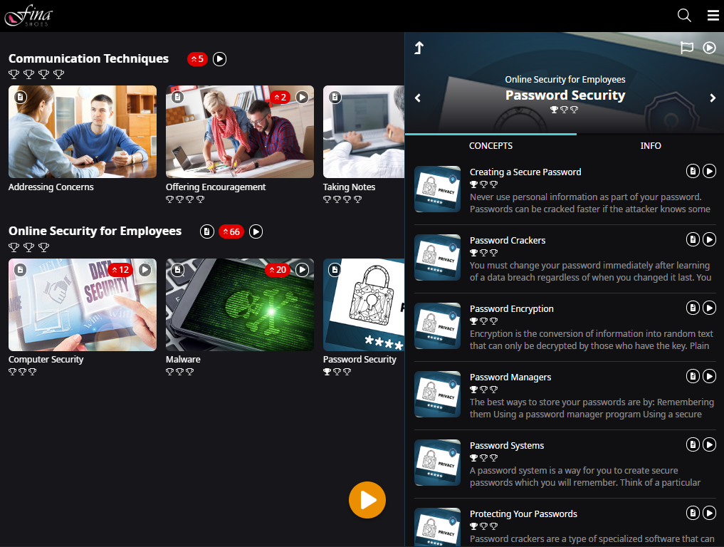 Learner interface with several accordions showing Topics. Each Topic has an image. The context panel is open and displays one of the Topic's images in the header and beside each Concept.