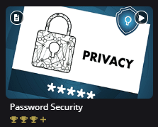 Content tile for Password Security Topic. Below the Topic title are three trophies. All three trophies are shaded in gold and followed by a +.