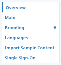 List of account setting pages: Overview, Main, Branding, Languages, Import Sample Content, and Single Sign-On.