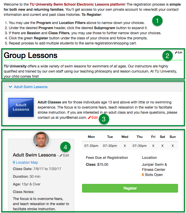 Lessons registration page