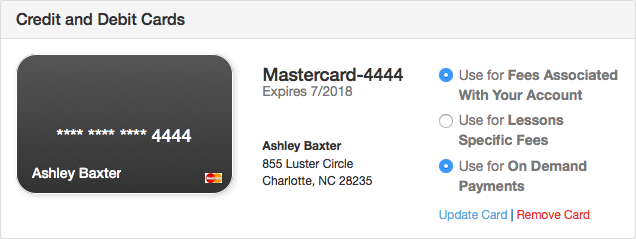 Credit and Debit Cards section of Payment Manager