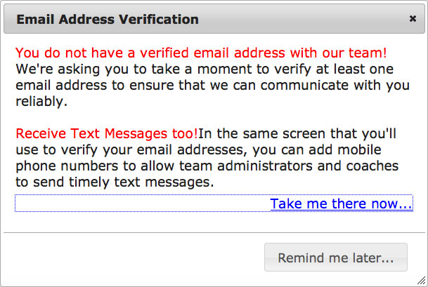 Membership: Verify my email address - TeamUnify Knowledge Base