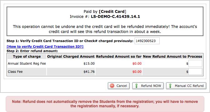 Credit card refund screen