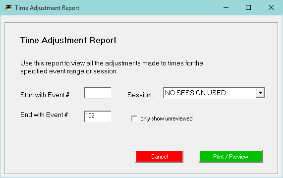 Time Adjustment Report dialog