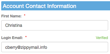 Verified label above email address field