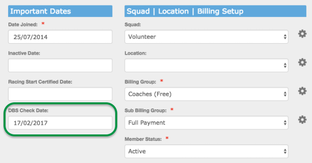 Member profile with DBS Check Date field