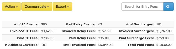 Fees batch totals