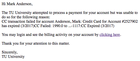 Example failed credit card email