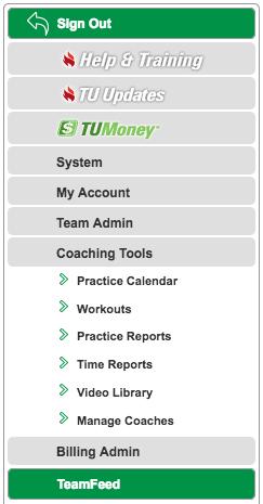Coaching Tools menu
