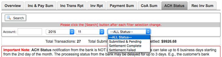 ACH status examples