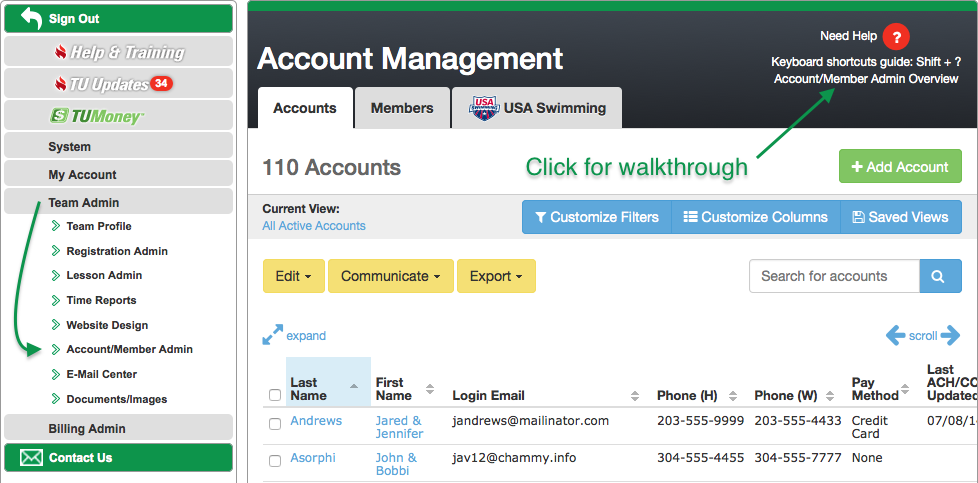 Click Account/Member Admin Overview for walkthrough