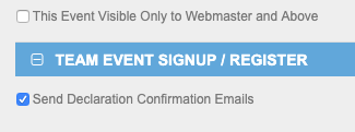 Email event declaration setting