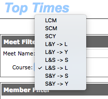 Course Type dropdown