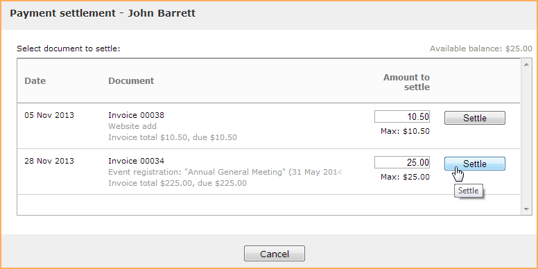 settling payments to invoices wild apricot help