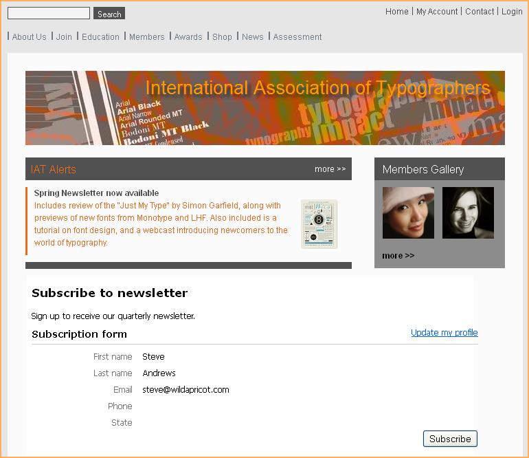 Subscription form widget - Wild Apricot Help