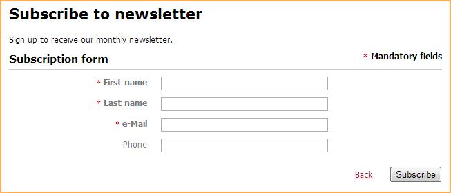 subscription form gadget wild apricot help